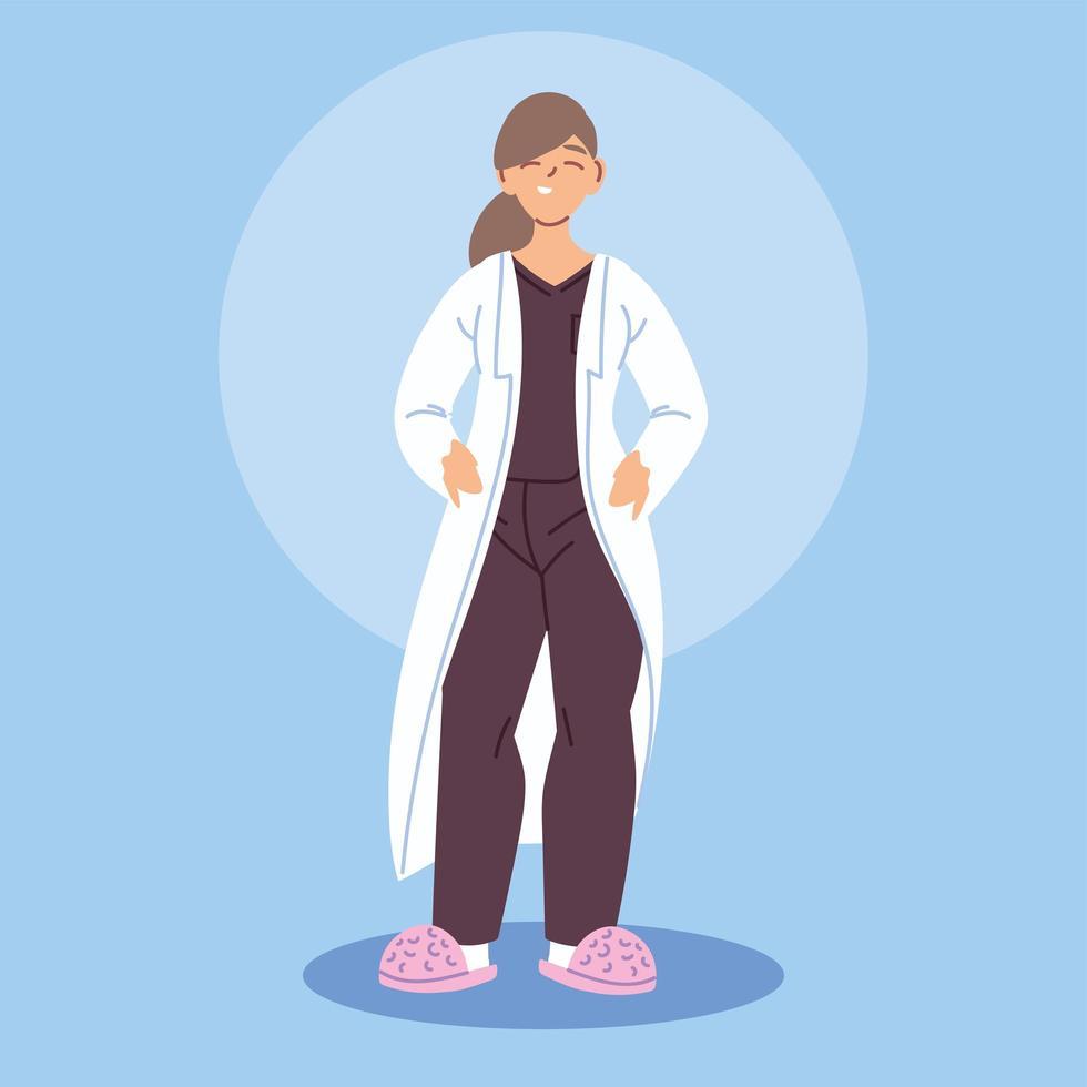 kvinnlig läkare i medicinsk klänning vektor