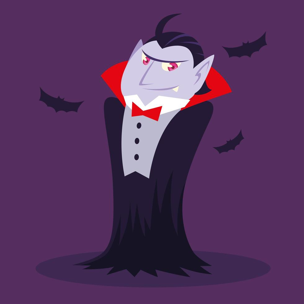 Zähle Dracula oder Vampir für Halloween vektor