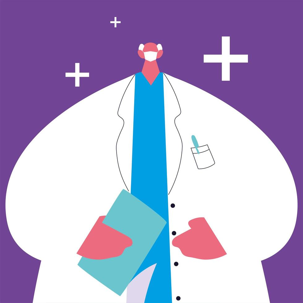 männlicher Arzt stehend. medezinische Angestellte vektor