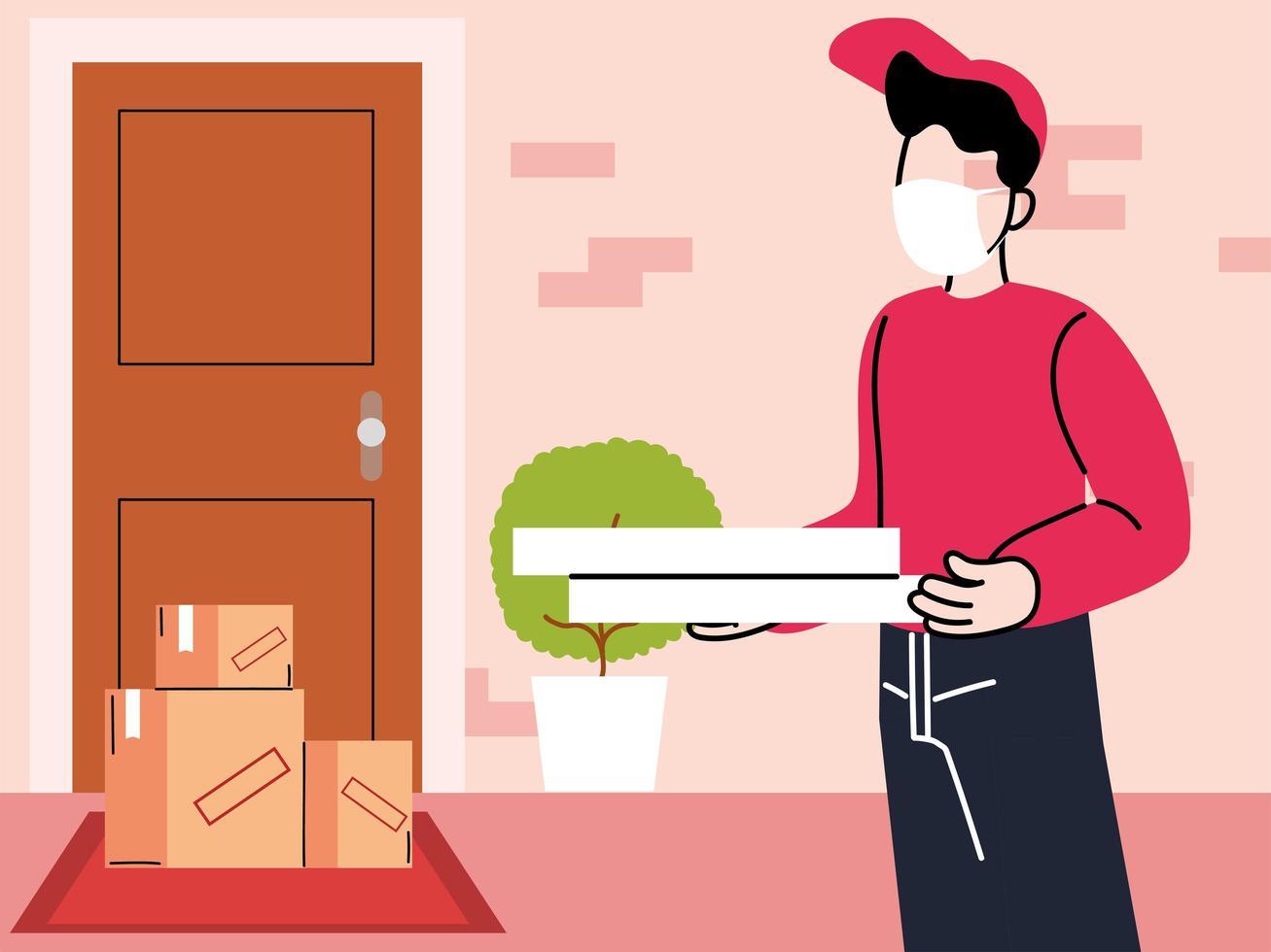 Kurier mit Maske liefert Waren an die Tür vektor