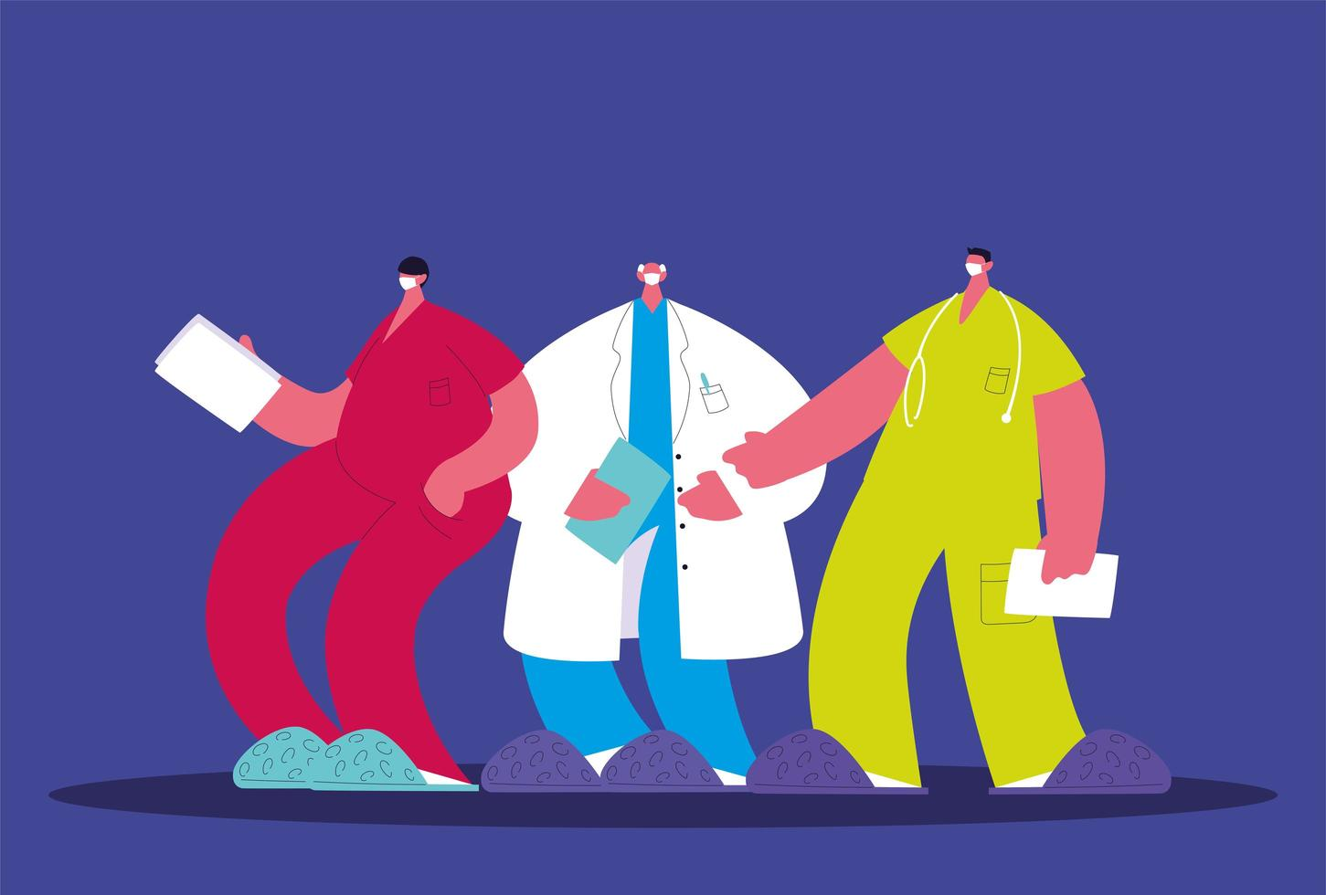 manliga läkare står. medicinskt team vektor