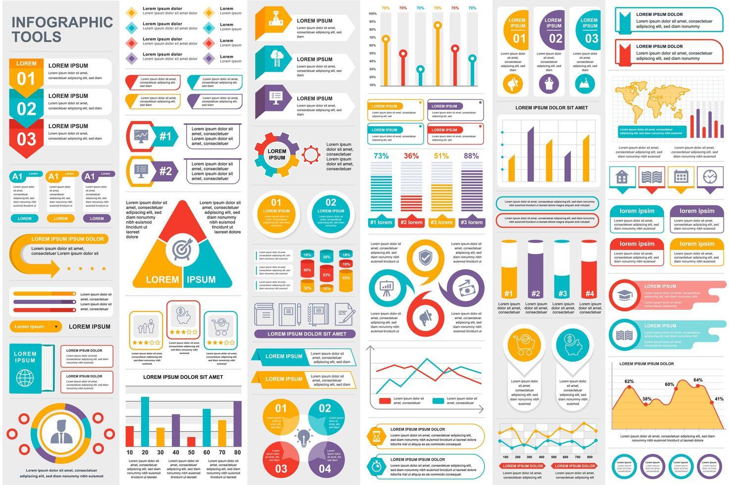färgglada infografiska element datavisualiseringspaket vektor