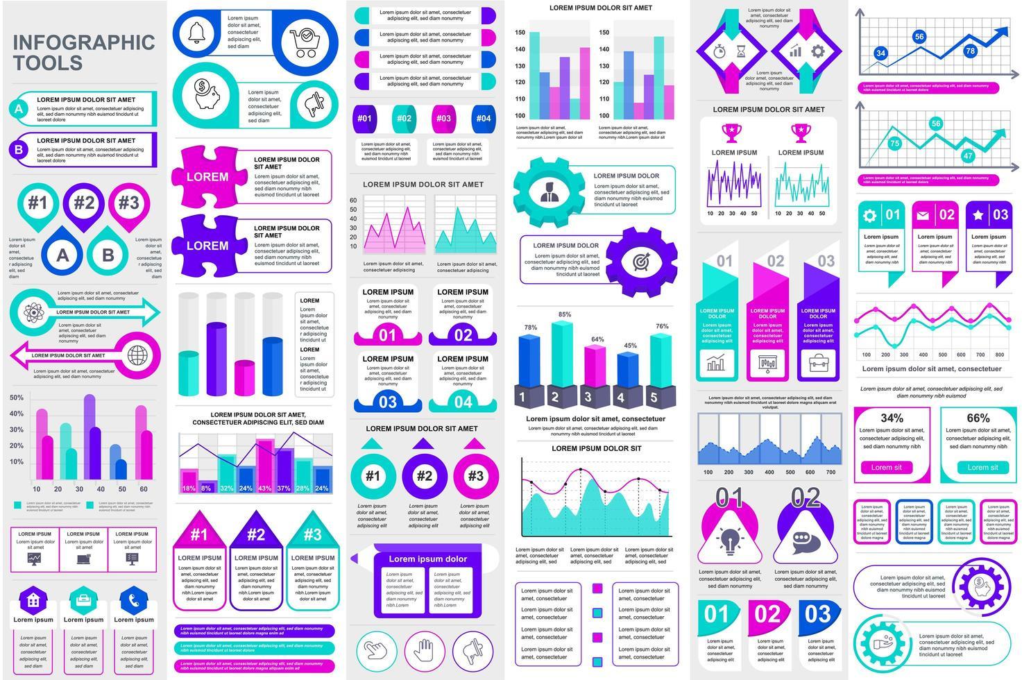 buntes Datenvisualisierungspaket für Infografikelemente vektor