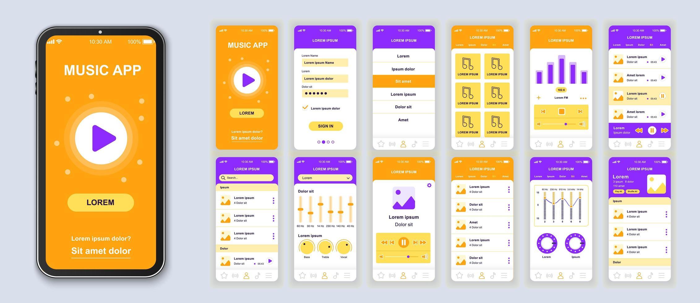 orange och lila musik ui mobil app gränssnittsdesign vektor