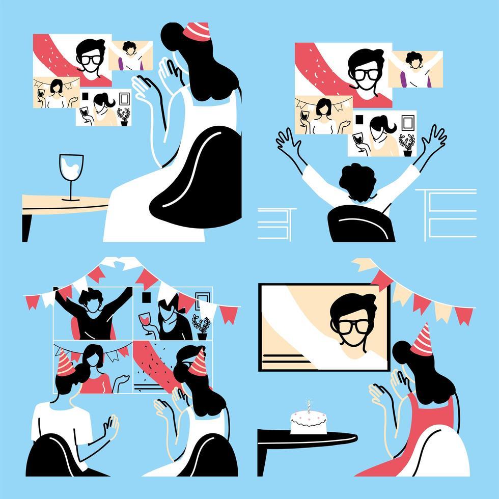 människor i videochatt firar vektor