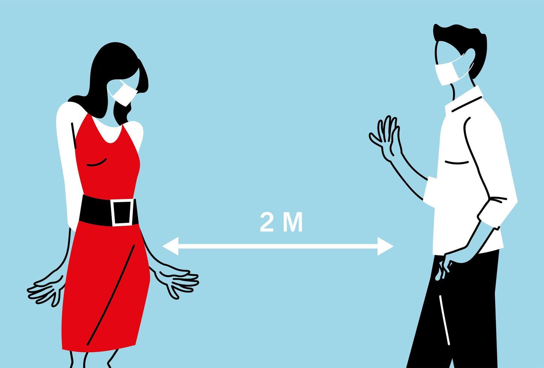 soziale Distanzierung zwischen Frau und Mann mit Masken vektor