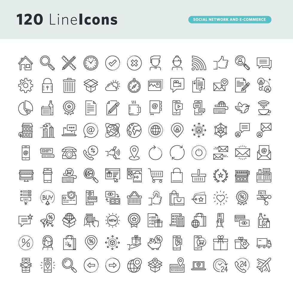 Satz von Liniensymbolen für soziale Netzwerke und E-Commerce vektor