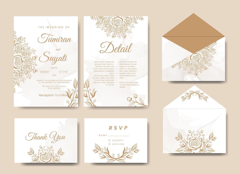 elegant blommig bröllopsinbjudan full uppsättning vektor