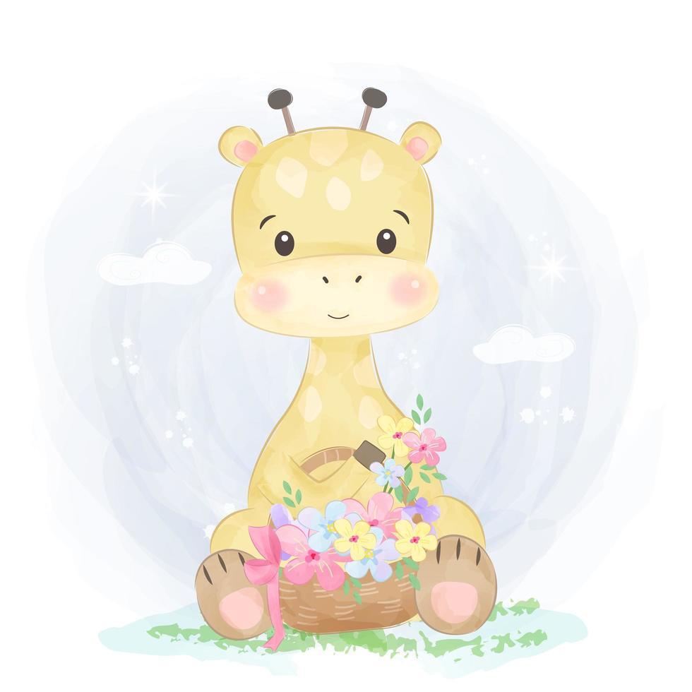 niedliche Babygiraffe, die einen Korb voller Blumen hält vektor