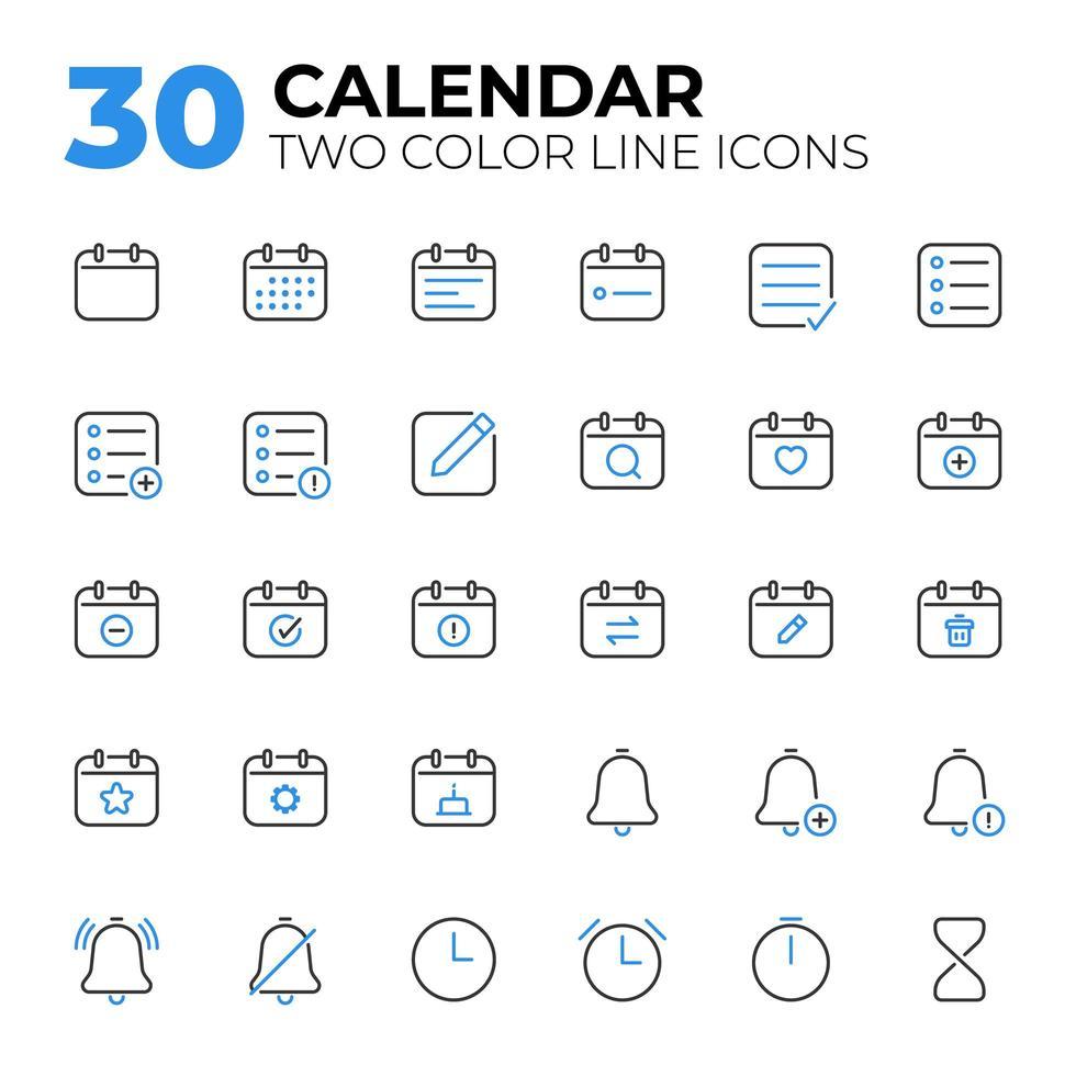 Satz von Symbolen für Kalenderdatum und -zeit vektor