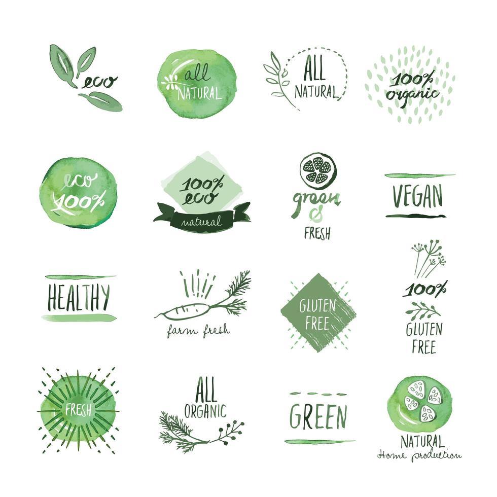uppsättning ekologiska livsmedel handritad akvarell tecken vektor