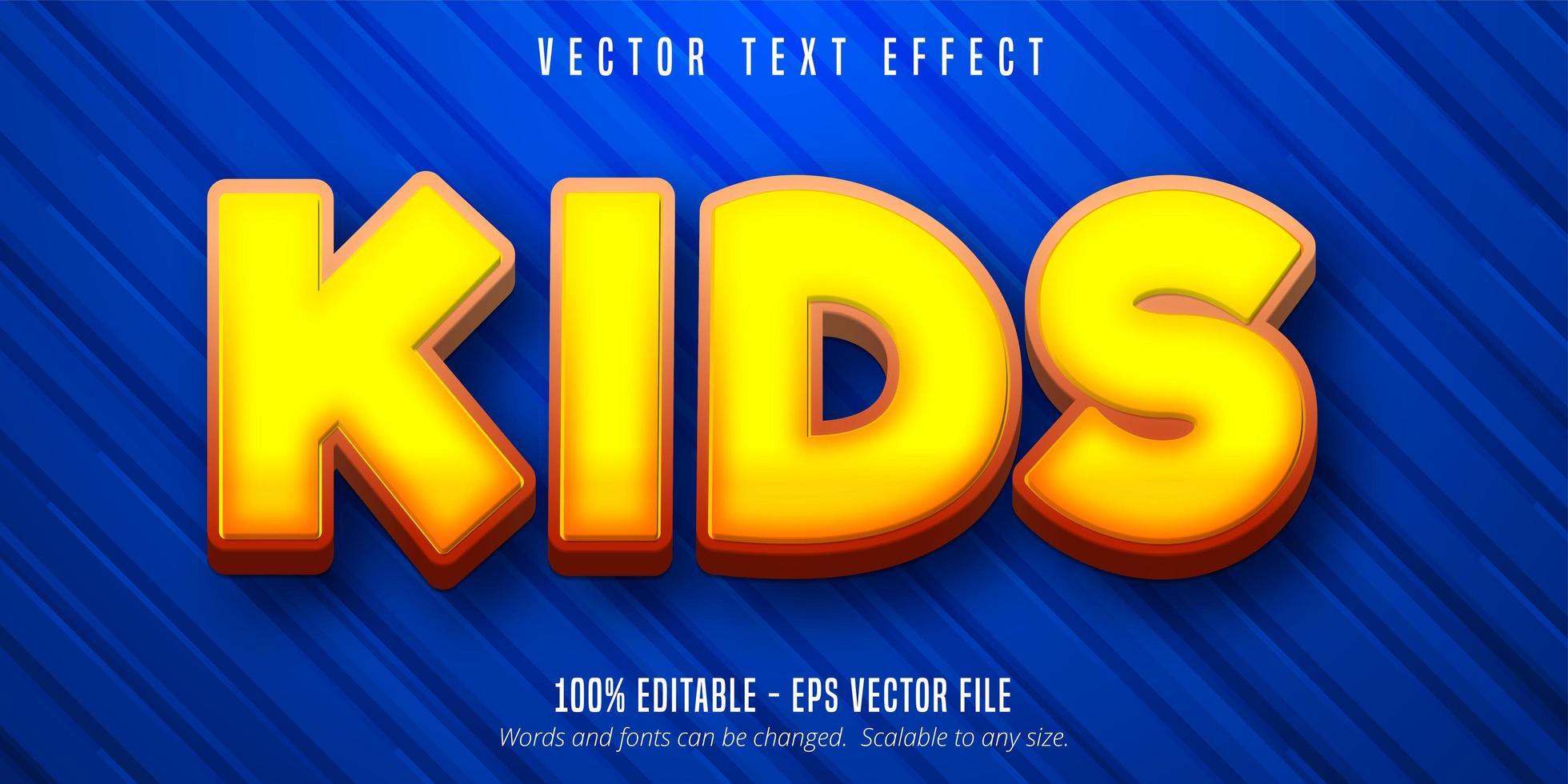 barn tecknad stil redigerbar texteffekt vektor