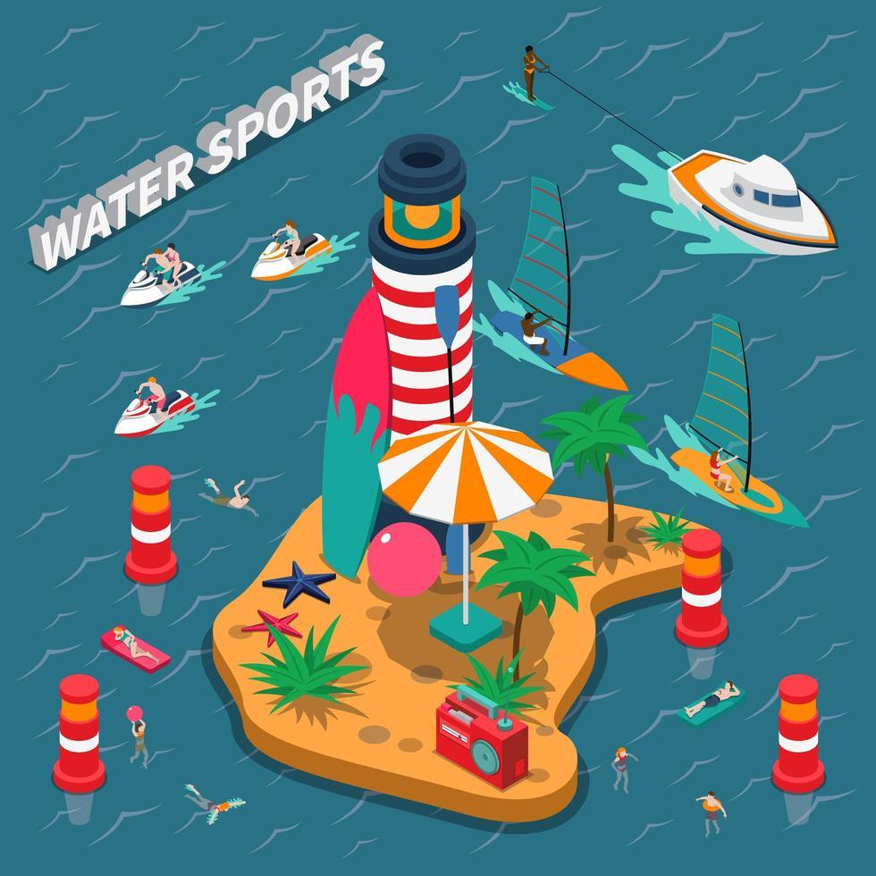 vattensporter isometrisk folksammansättning vektor