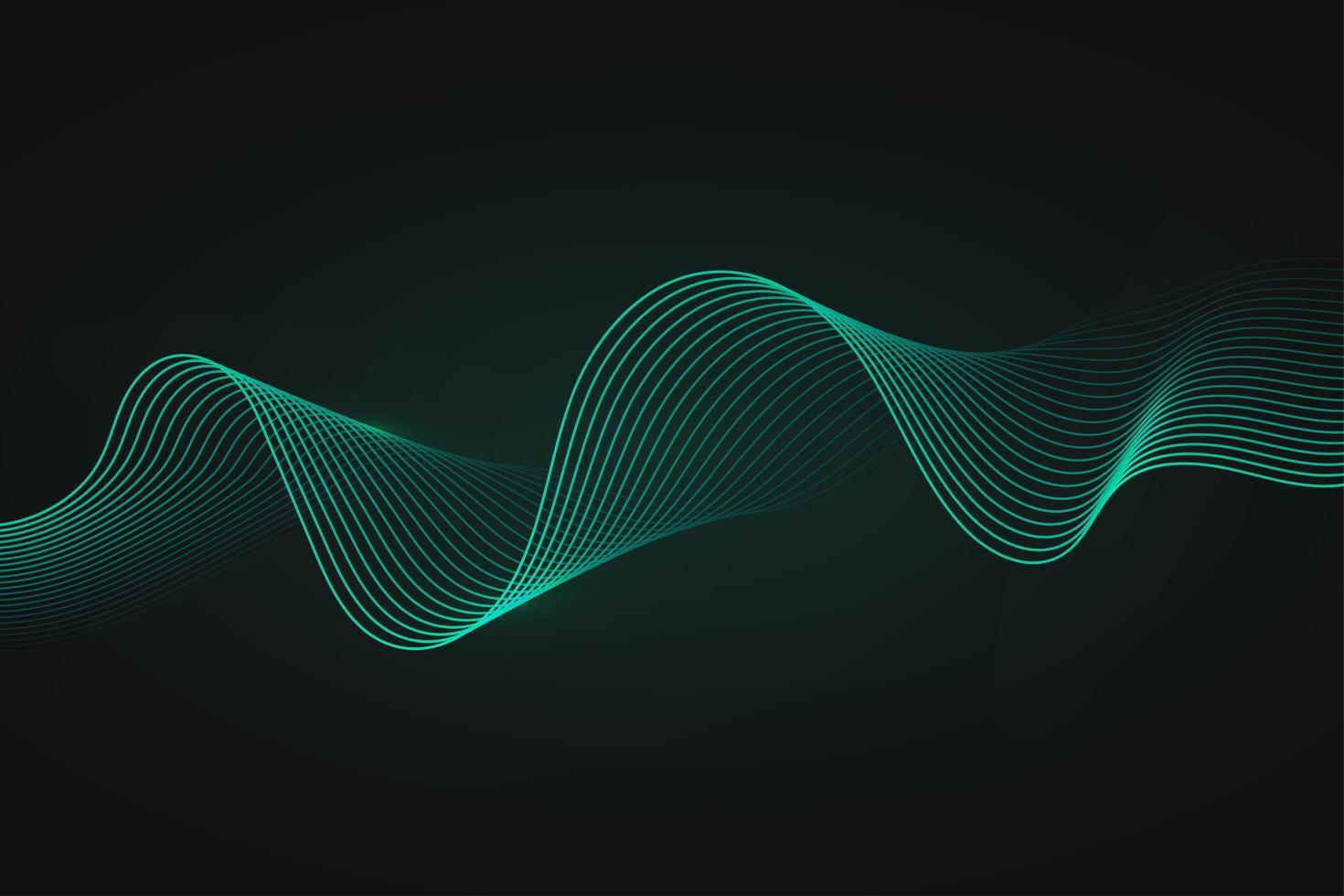 minimal abstrakt grön våg på mörk bakgrund vektor
