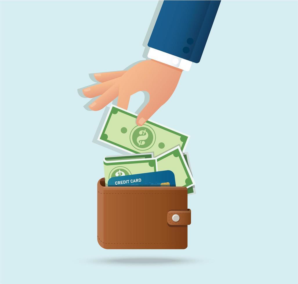 handen tar pengar från stängd plånbok vektor