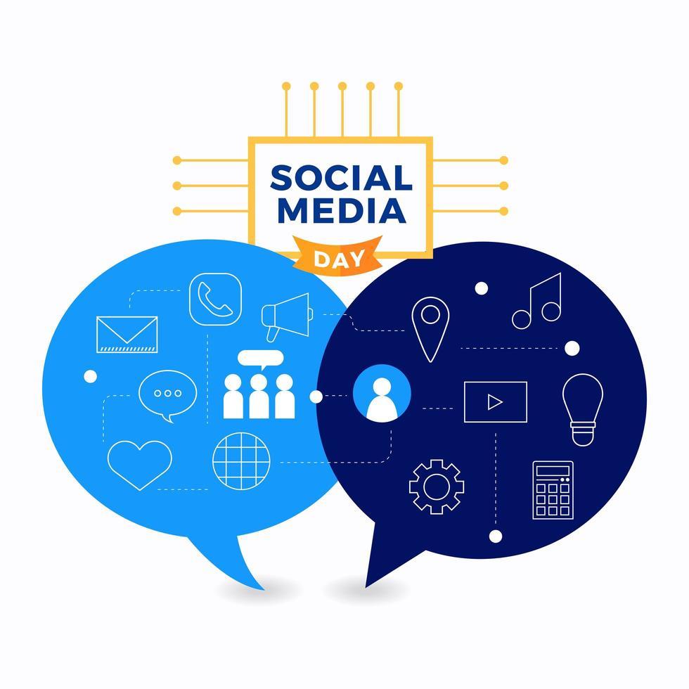 sociala medier dag affisch med pratbubblor och ikoner vektor