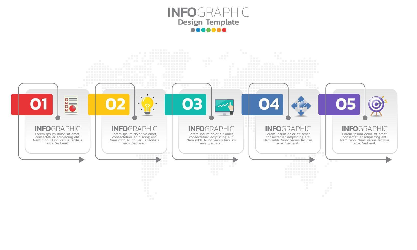 Timeline-Infografik-Vorlage mit Pfeilen vektor