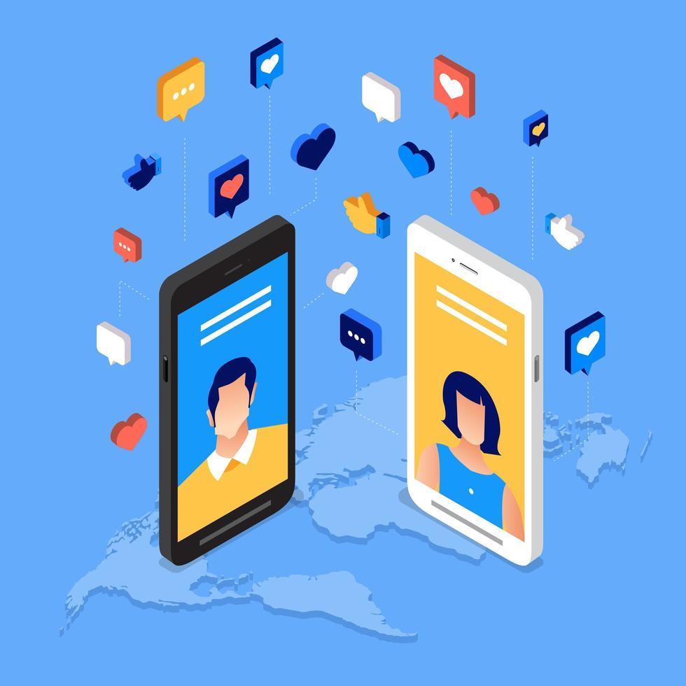 sociala medier dag affisch med karaktärer på smartphone vektor