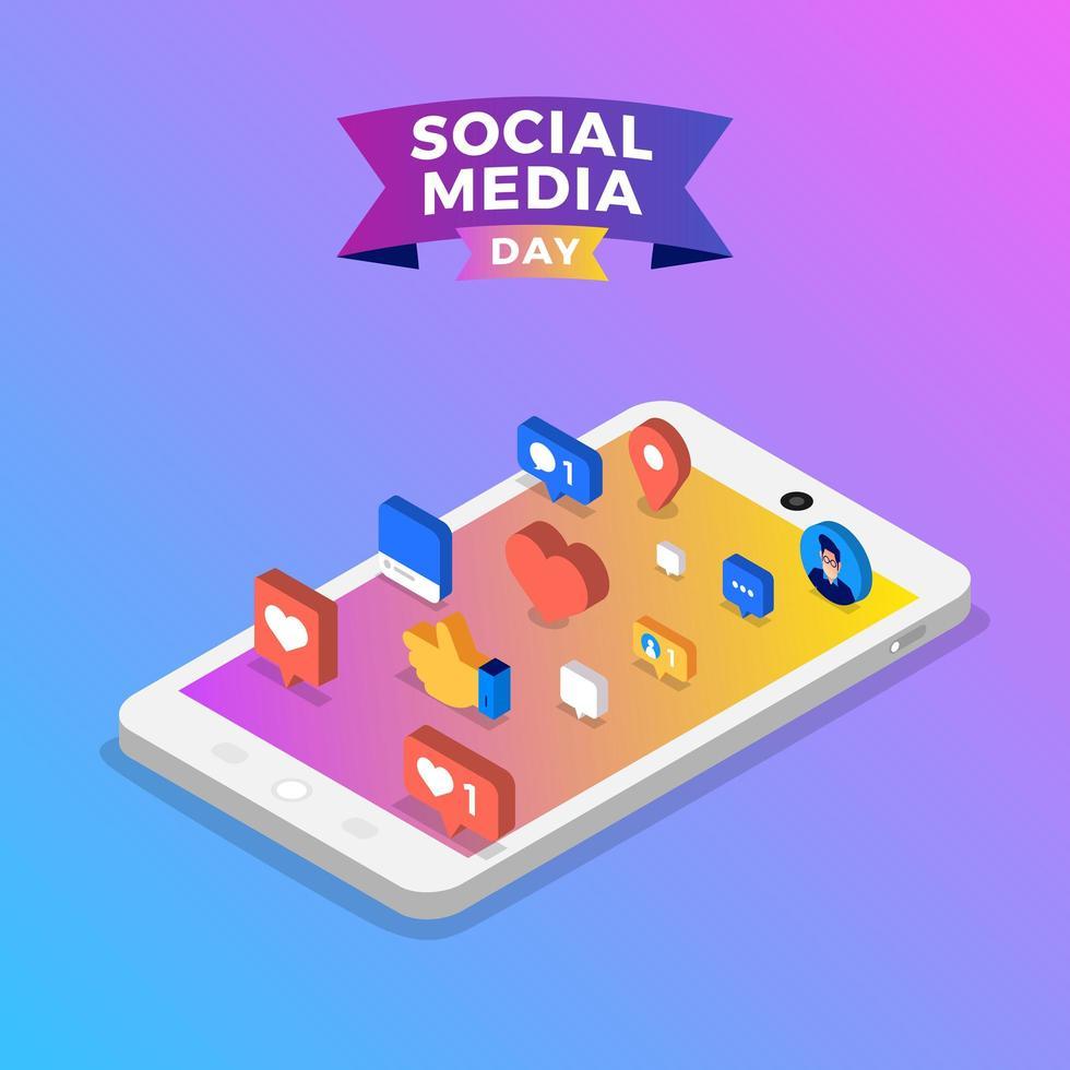 sociala medier dag affisch med ikoner på smartphone vektor