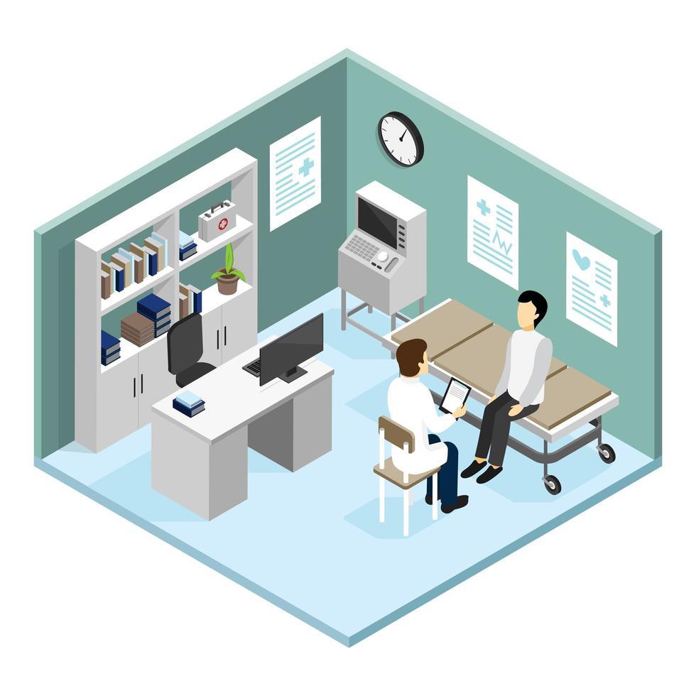 läkare patient isometriska människor vektor