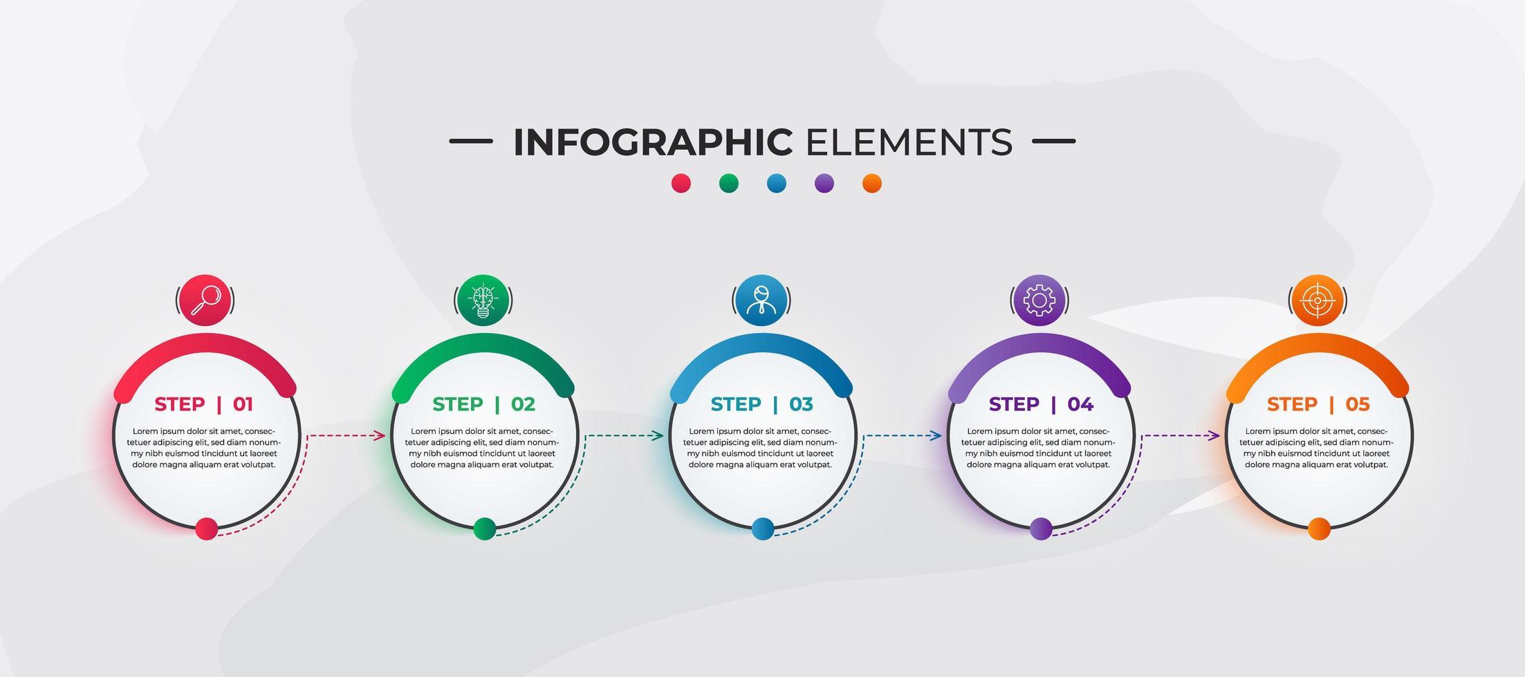 bunte kreisförmige Infografik-Elemente für Unternehmen vektor