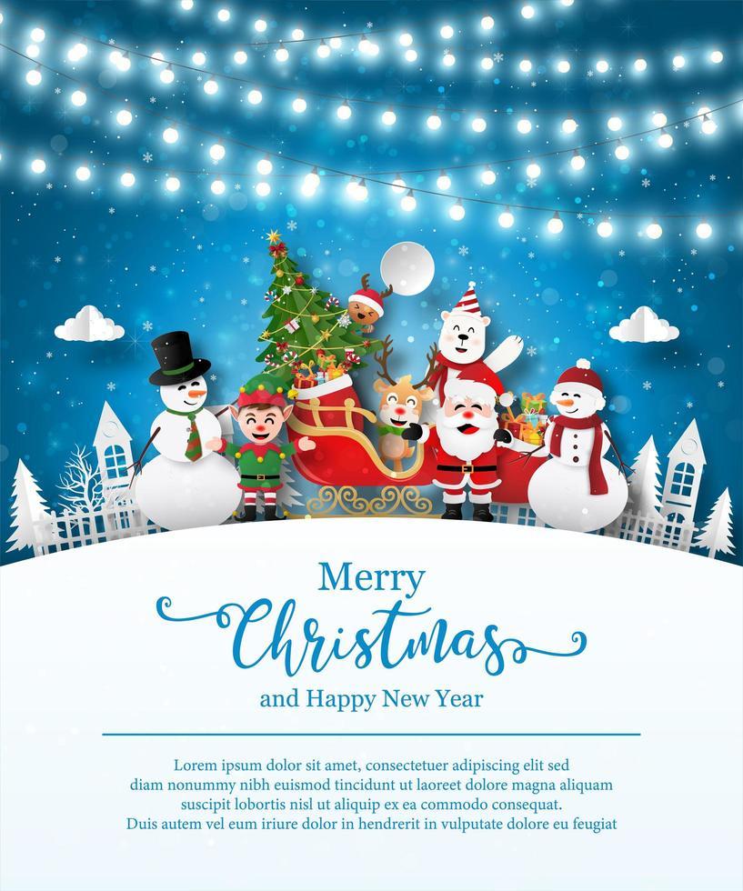 Weihnachtsplakatschablone mit Weihnachtsmann und Freunden vektor
