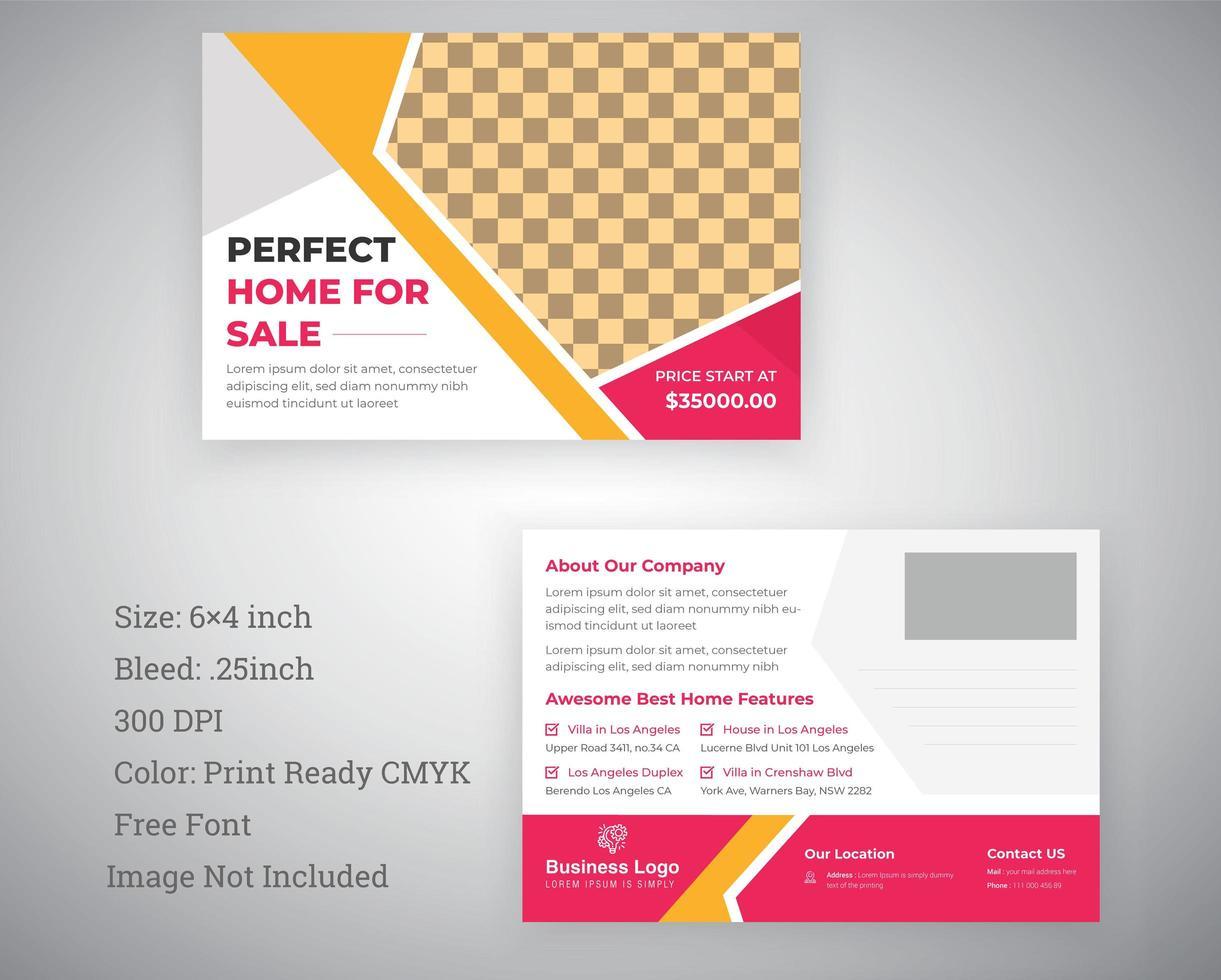 Geschäftspostkartenentwurf in rosa und gelb vektor