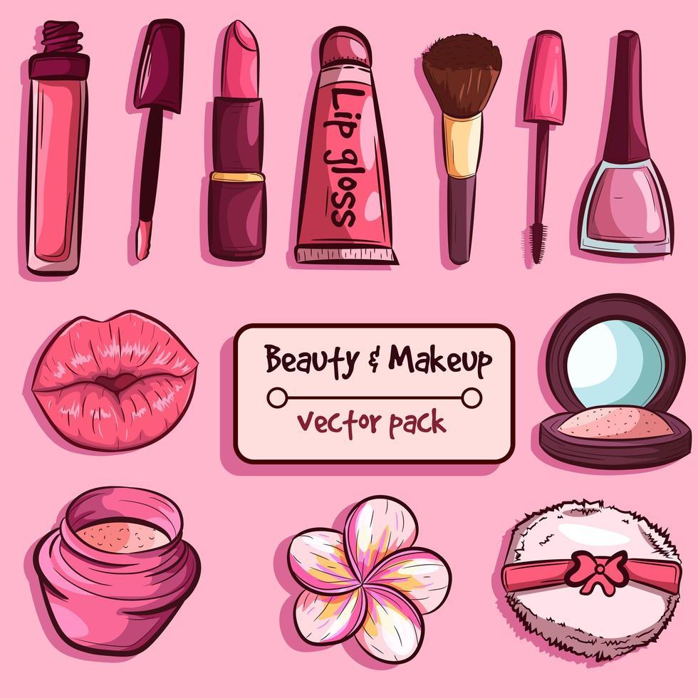 hudvård och skönhetselement pack vektor