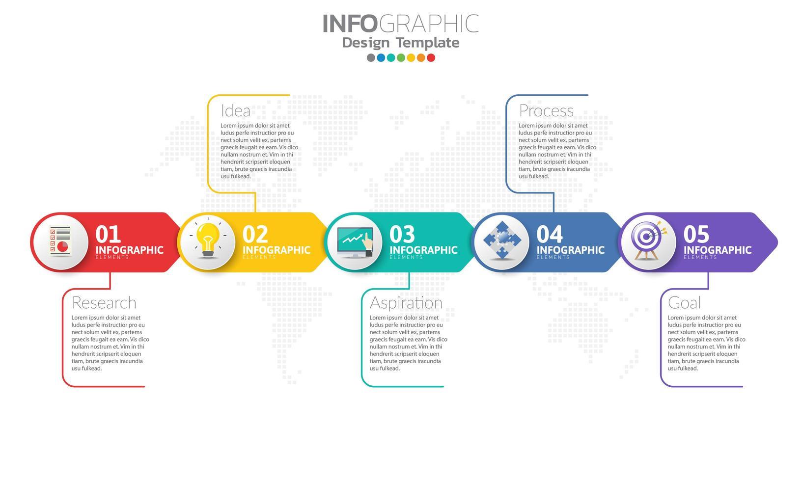 tidslinje infografisk mall med pilar vektor