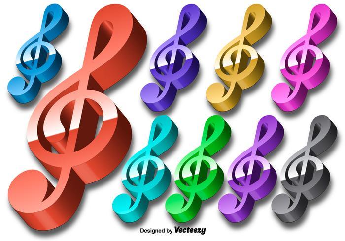 Vector 3D Bunte Violine Key Icon Set