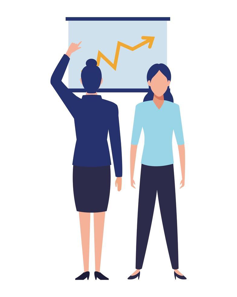 weibliche Geschäftsleute mit Diagramm vektor