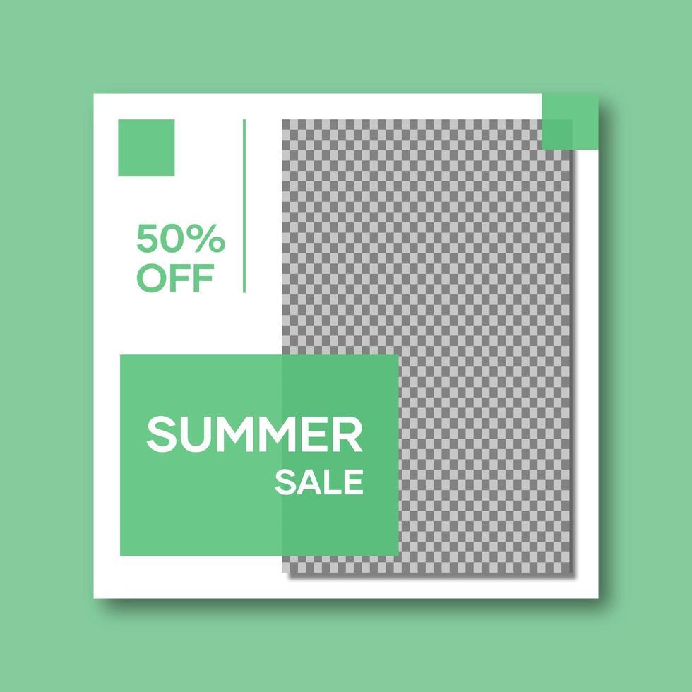 gröna och vita sociala medier postmall vektor