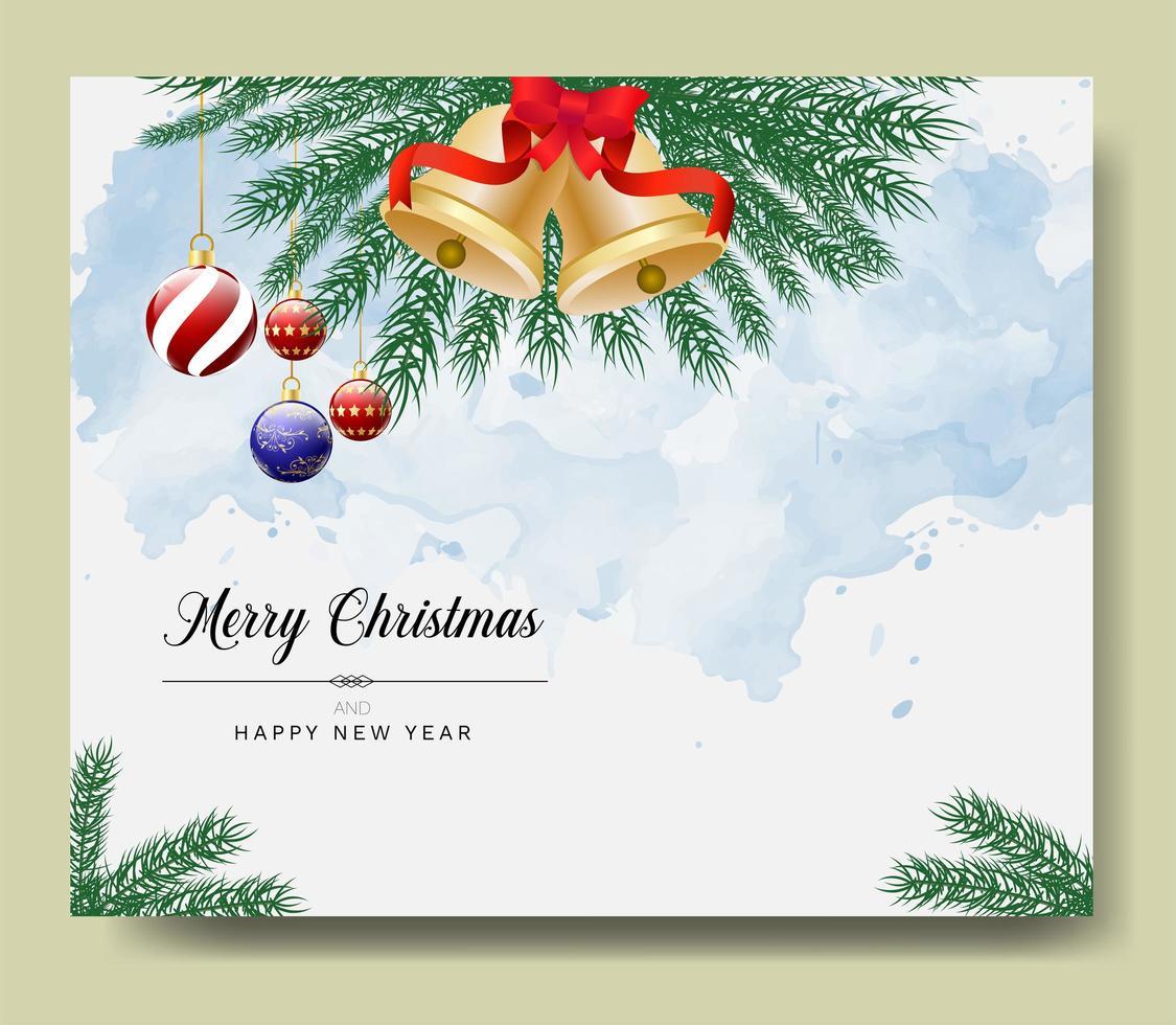 god julkort med grenar och ornament vektor