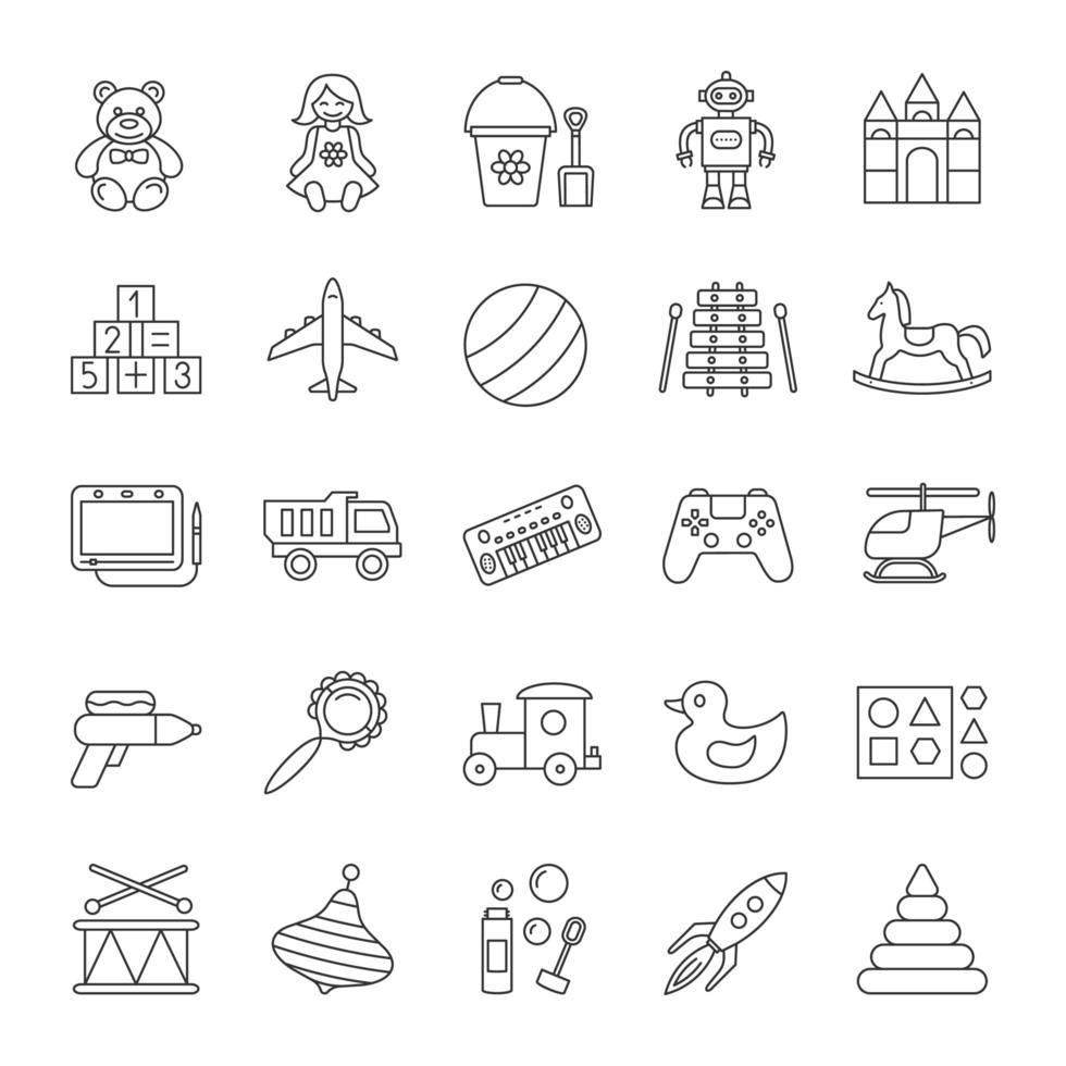 barnleksaker linjära ikoner set vektor