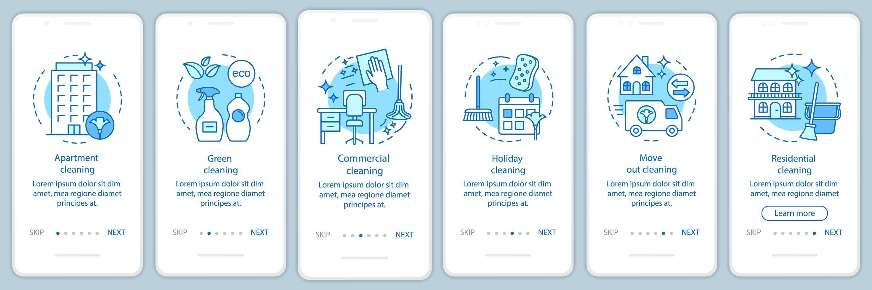 Reinigungsservice Onboarding mobile App vektor