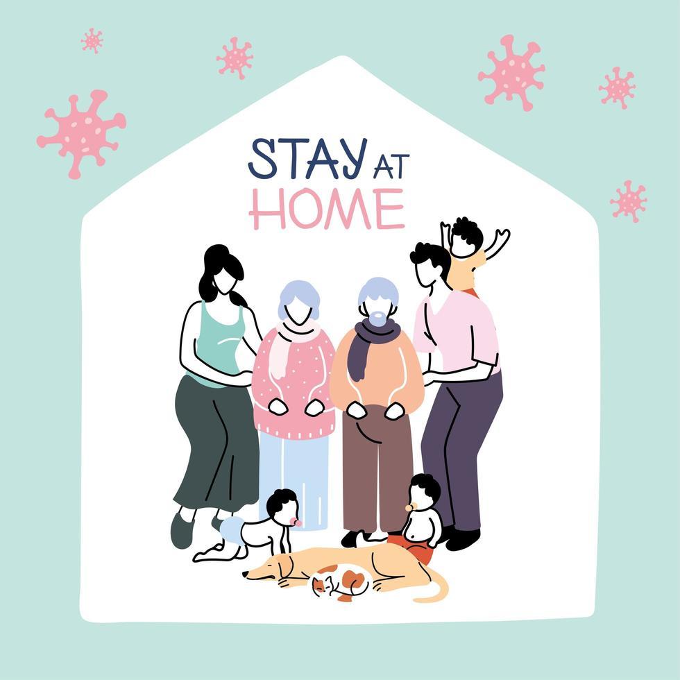 Familienmitglieder bleiben zu Hause wegen einer Coronavirus-Pandemie vektor