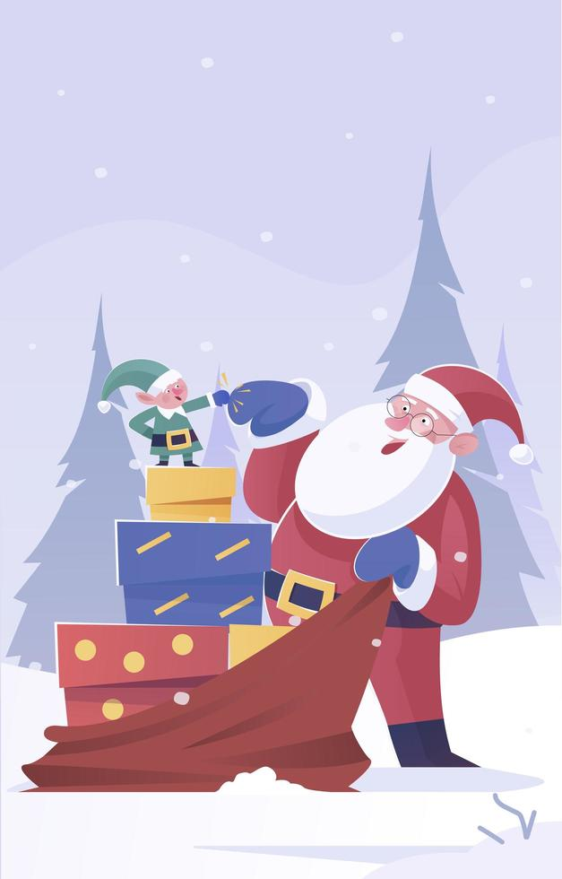 santa och hans hjälpare förbereder gåvor till barnen vektor