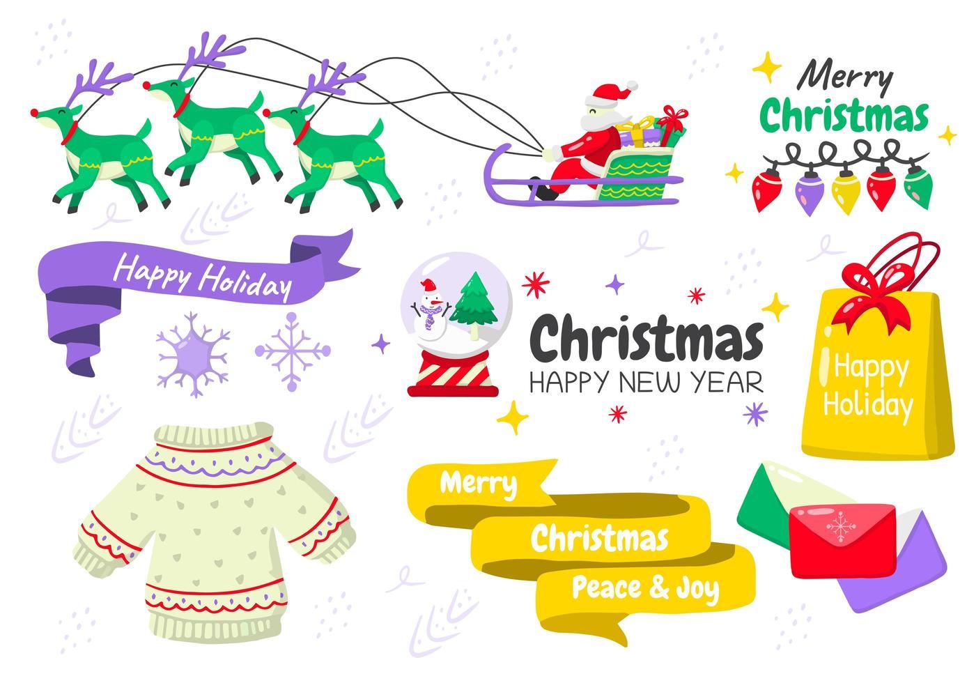 tecknad stil jul element set vektor