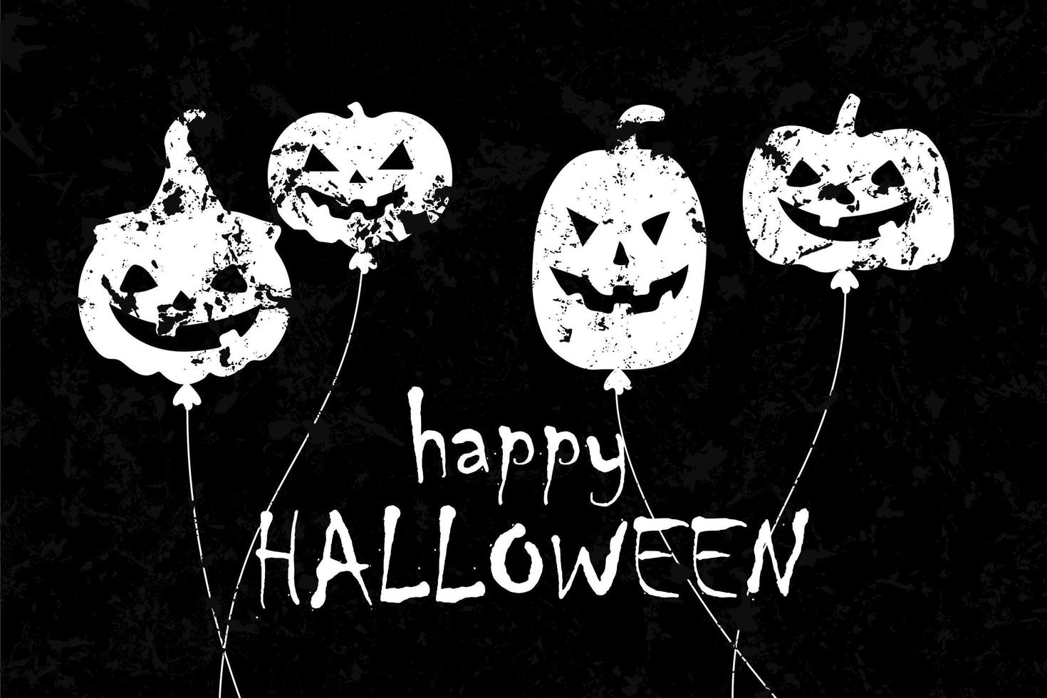 halloween ballong med läskiga ansikten grunge design vektor