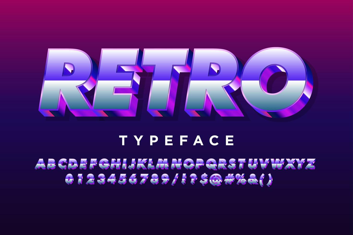 lila metalliskt retro alfabet vektor