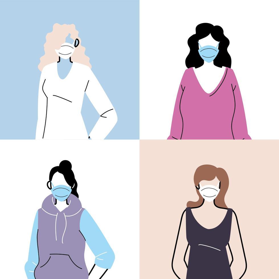 uppsättning kvinnor i skyddande medicinska ansiktsmasker vektor