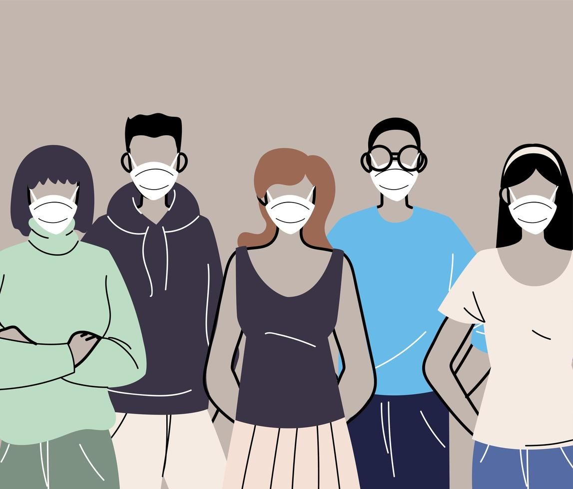 grupp människor i skyddande medicinska ansiktsmasker vektor