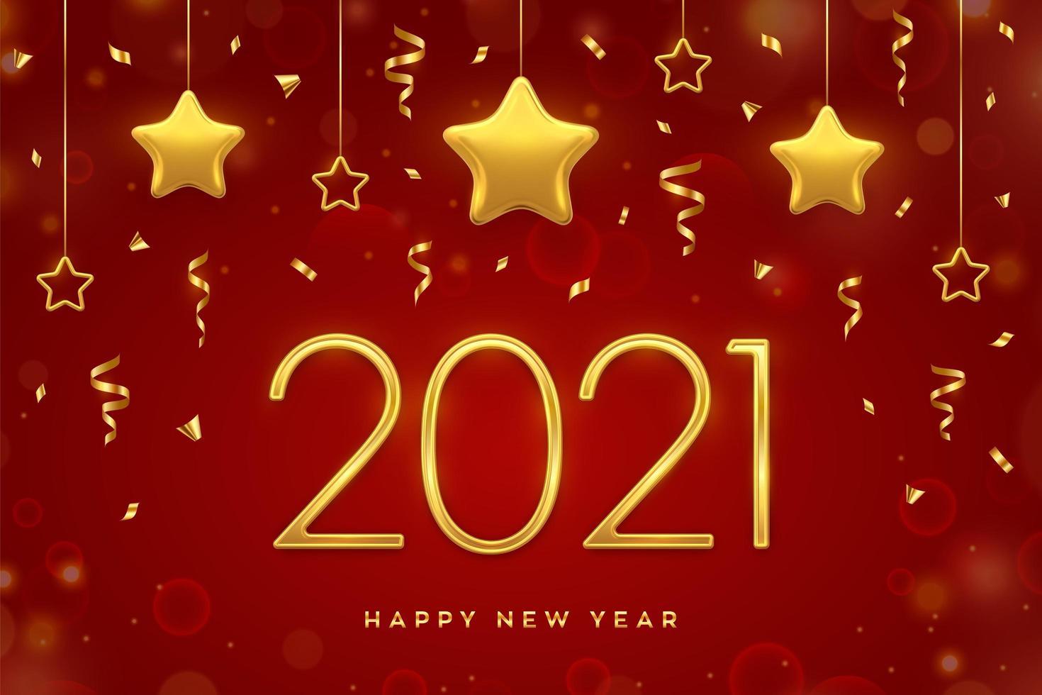 goldener Text des neuen Jahres und hängende Sterne vektor