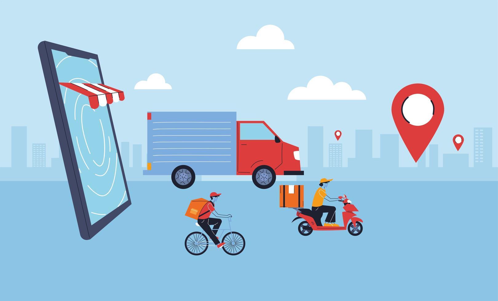 Lieferservice, Transport und Logistik Digital Shopping Design vektor