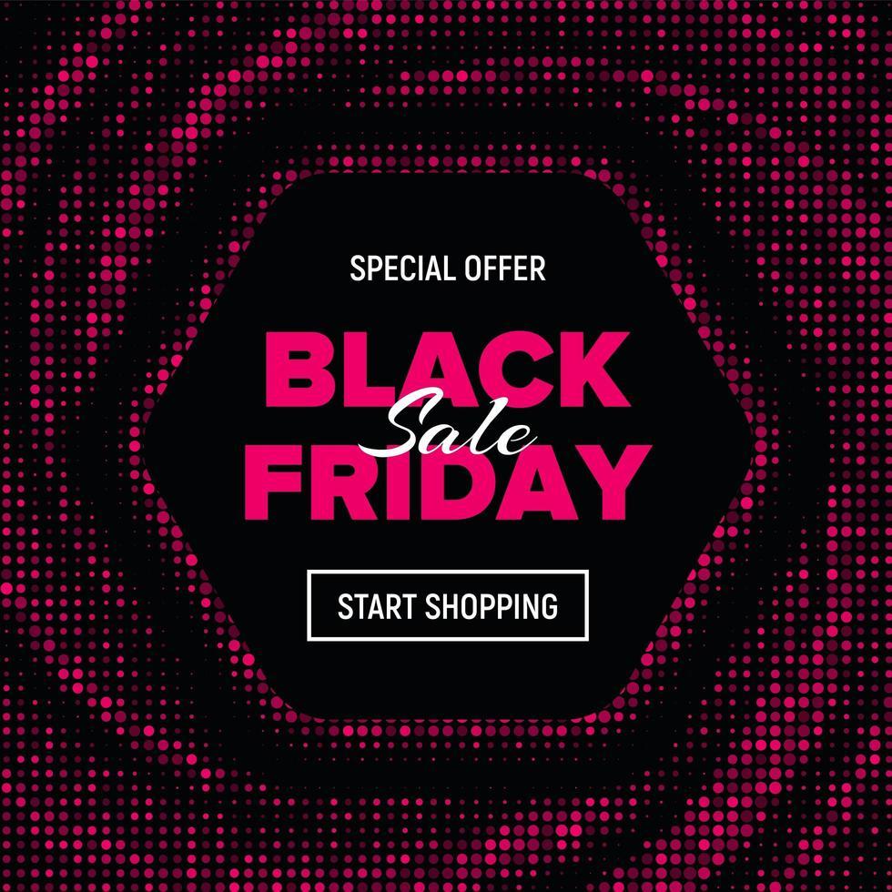 rosa prickad hexagon svart fredag försäljning banner vektor