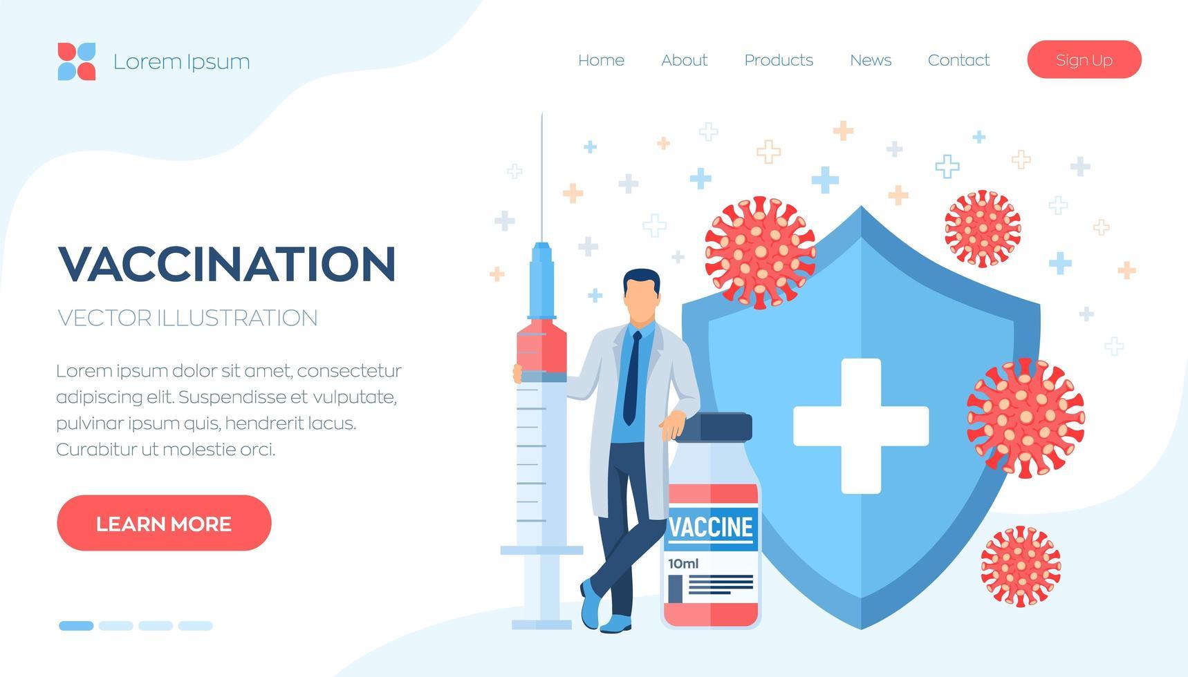 vaccin, vaccinationskampanjens hemsidebanner vektor