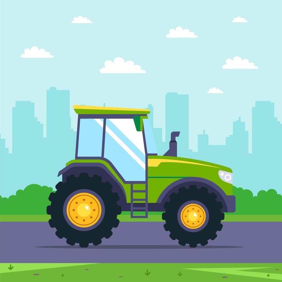 grüner Traktor fährt auf Autobahn mit Stadt im Hintergrund vektor
