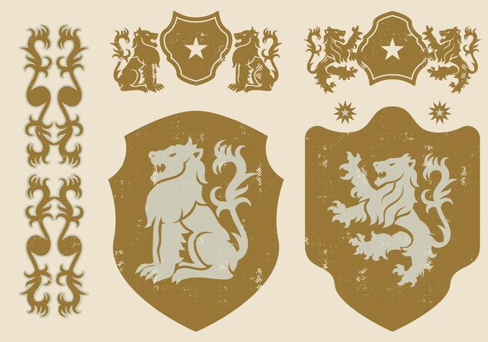 Heraldischer Löwe Icons vektor