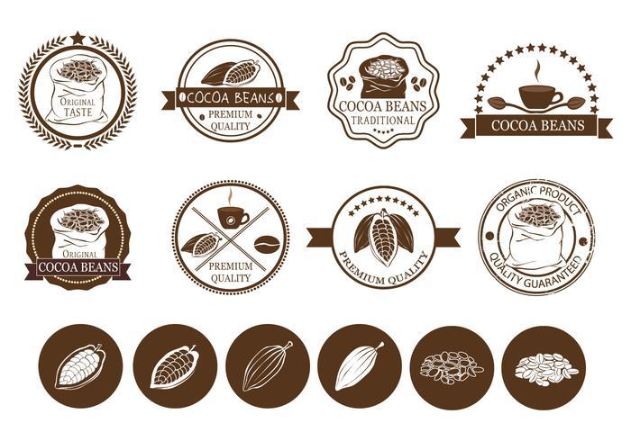 Kakaobohnen und Kaffee-Label-Vektoren vektor