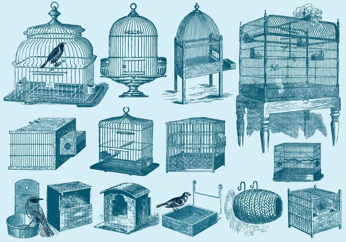 Fågelburar och Bon vektor